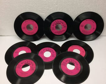 Vintage 45 Record 8 RCA Victor Records Hot Pink Center Wall Decor Art Mixed Media