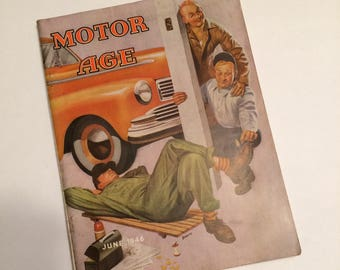 vintage June 1946 Motor Age Magazine Bradley Cover Art Old Advertising