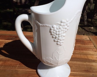 Vintage Milk Glass Pitcher Raised Grape Leaf Design Heavy 11 inch 2 Quart Gorgeous Serving Piece for Thanksgiving