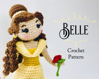 CROCHET PATTERN Belle Doll // Beauty and the Beast Crochet Pattern // Doll Crochet Pattern // Princess Doll Crochet Pattern // Amigurumi