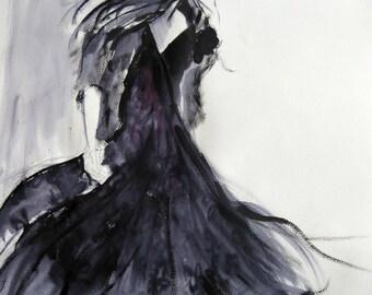 "Charcoal, Vintage Print, Black Dress, Fashion Art Print, Instant Download, Printable Art, 8.5"" x 11"", PDF, Art Print"