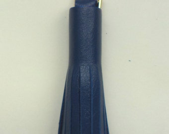 Leather Tassel Charm, Key Chain, Tote Bag ,Blue