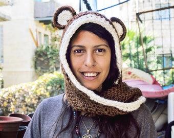 Crochet bear hat scarf