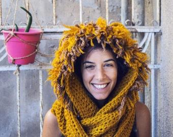 Crochet lion hood
