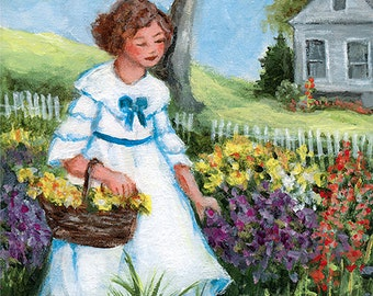 In the Flower Garden . 5X7 print of an original by Dianne Masters Hare on Matte Finish 100% Cotton Paper with Professional Archival Inks