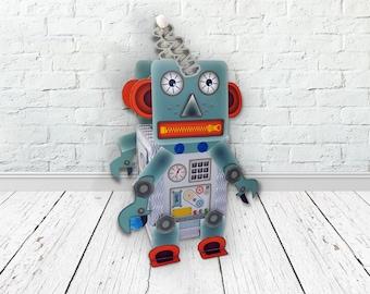Paper Lantern Craft Kit Set • cute retro robot • for kid's birthdays Halloween or room decoration • make your own lantern • DIY with kids