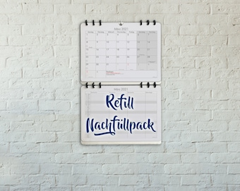 Refill for the Family Monthly Planner Organizer Wall Calendar 2021 bigger than A3 size Design: Classic German Version