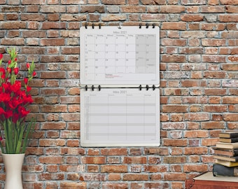 Family Monthly Planner Organizer Wall Calendar 2021 bigger than A3 size Design: Classic German Version