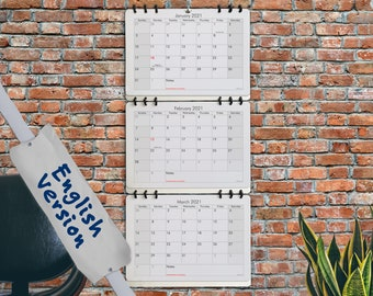 3-Months-Calendar with pages for 24 month 2 full years • recycled paper • room for notes • choose starting month 2021 2022 • refillable