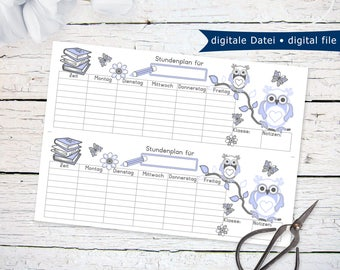 Back To School Schedule with blue owls | printable PDF instant download last minute gift idea for first day of school