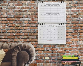 Wall Calendar with two timetables schedules • German Version • Design: Classic