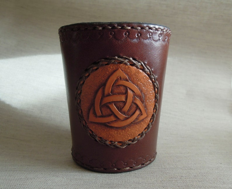 Genuine Leather Dice Cup with a Celtic Triskel / Dice shaker image 0