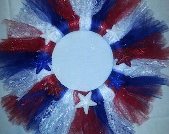 Handmade Red, White and Blue Tulle Wreath