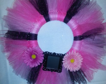 Handmade Pink and Black Tulle Wreath