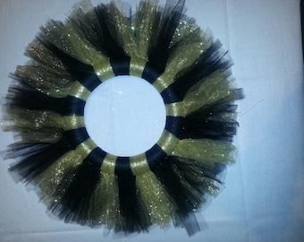 Black & Gold Handmade Tulle Wreath