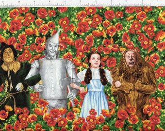 bty ~ WIZARD of OZ POPPIES ~ with characters dorothy scarecrow lion woodsman poppy fabric
