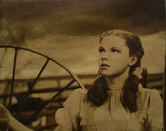 Wizard of Oz Tapestry ~ Over the Rainbow Dorothy Toto in Kansas sepia movie scene finished or fabric