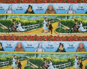 bty ~ WIZARD of OZ BORDER ~ linear fabric movie scenes