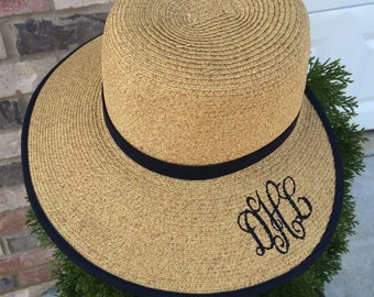 Monogrammed Summer Hats, UPF sun protection, monogrammed Back view hats, floppy hats