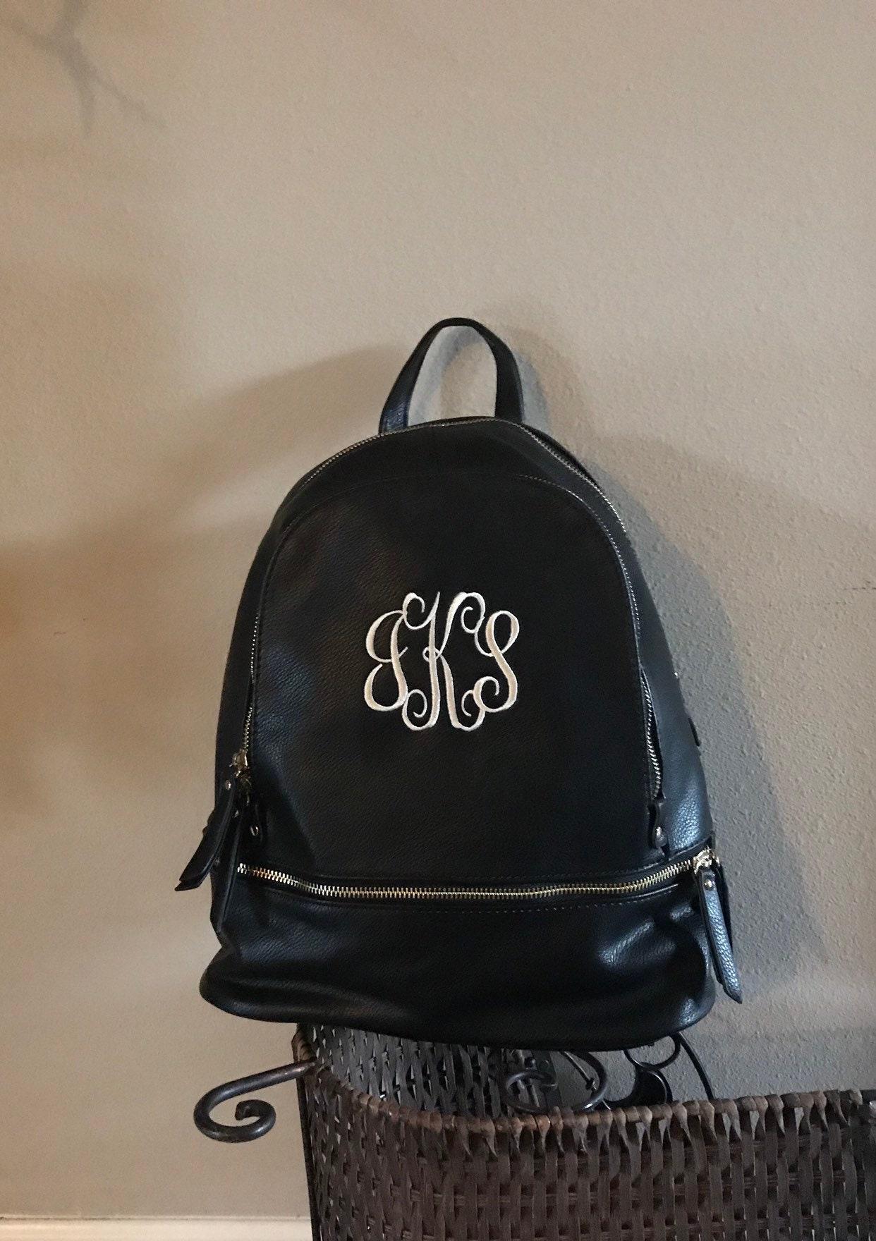 b83f5829b Black backpack Monogrammed, Personalized Backpack, Purse, Backpack, Faux Leather  Backpack, Bag, Travel bag, multipurpose