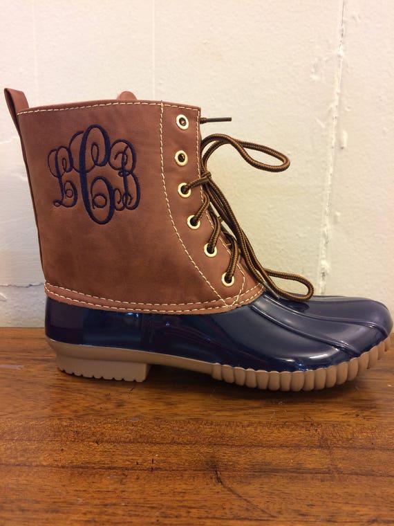 Women's Navy Duck boots Monogram adult