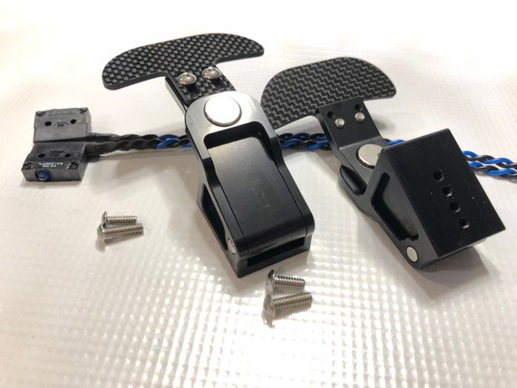 Sim Racing Paddle Shifters set made from aluminum and carbon fiber