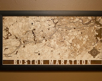 Boston Marathon Laser Engraved Map