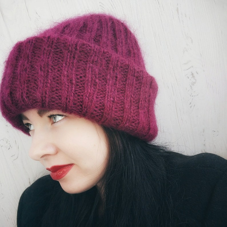Mohair knitted hat Mohair hat women Big beanie hat Winter hat  52314832e414