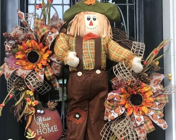 Xlarge Fall SCARECROW WREATH, Fall grapevine wreath, scarecrow burlap wreath