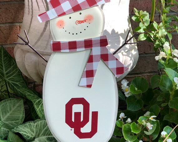 OU Snowman metal sign, Round Top Collection sign, OU sign, Ou yard sign, christmas Ou yard sign, winter Oklahoma University sign