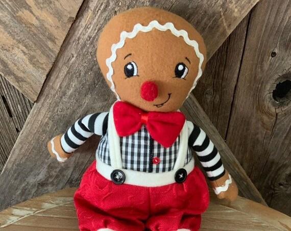 """GINGERBREAD BOY CHRISTMAS Doll, Christmas Doll , Christmas Decor, Gingerbread Boy 15"""" tall, Gingerbread Boy Ornament, Shelf Gingerbread Doll"""