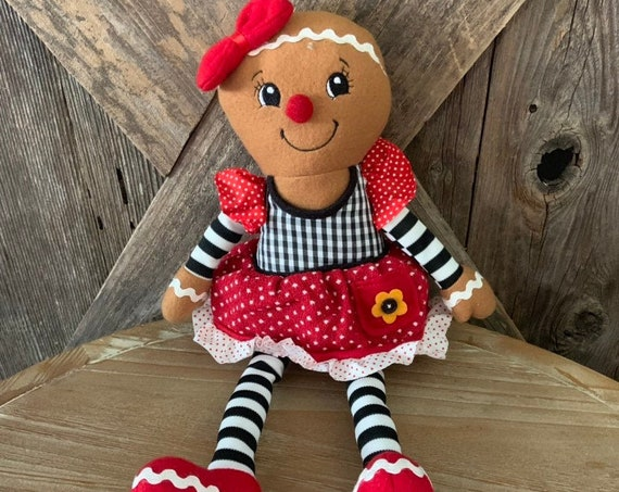 GINGERBREAD GIRL CHRISTMAS Doll, Christmas Decor, Gingerbread girl plush doll,  Gingerbread Decor
