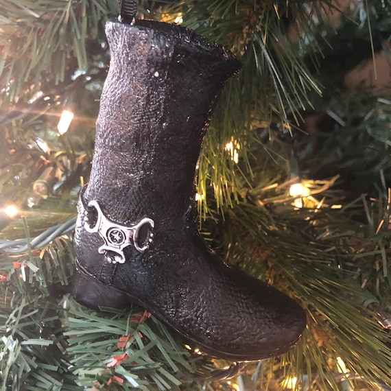 MOTORCYCLE BOOT ORNAMENT,  Christmas Ornament, Boot Christmas Decor, Black Ornament, Black Boot Ornament