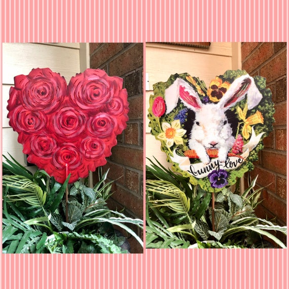 Two sided metal VALENTINES and EASTER YARD Sign, valentine yard sign, heart sign, valentine heart decor, Easter Bunny sign,easter yard decor