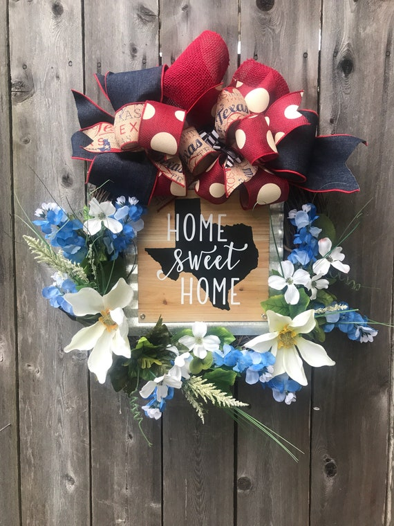 HOME SWEET HOME Texas sign Grapevine Wreath