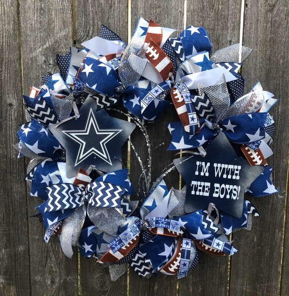 DALLAS COWBOYS WREATH, I'm with the boys sign, dallas cowboys football wreath, dallas cowboys decor
