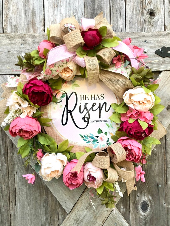 HE IS RISEN Spring Easter peony wreath, easter door decor, spring wreath, he is risen sign
