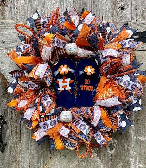 HOUSTON ASTROS Flip Flop WREATH, Astros Baseball wreath, baseball summer wreath