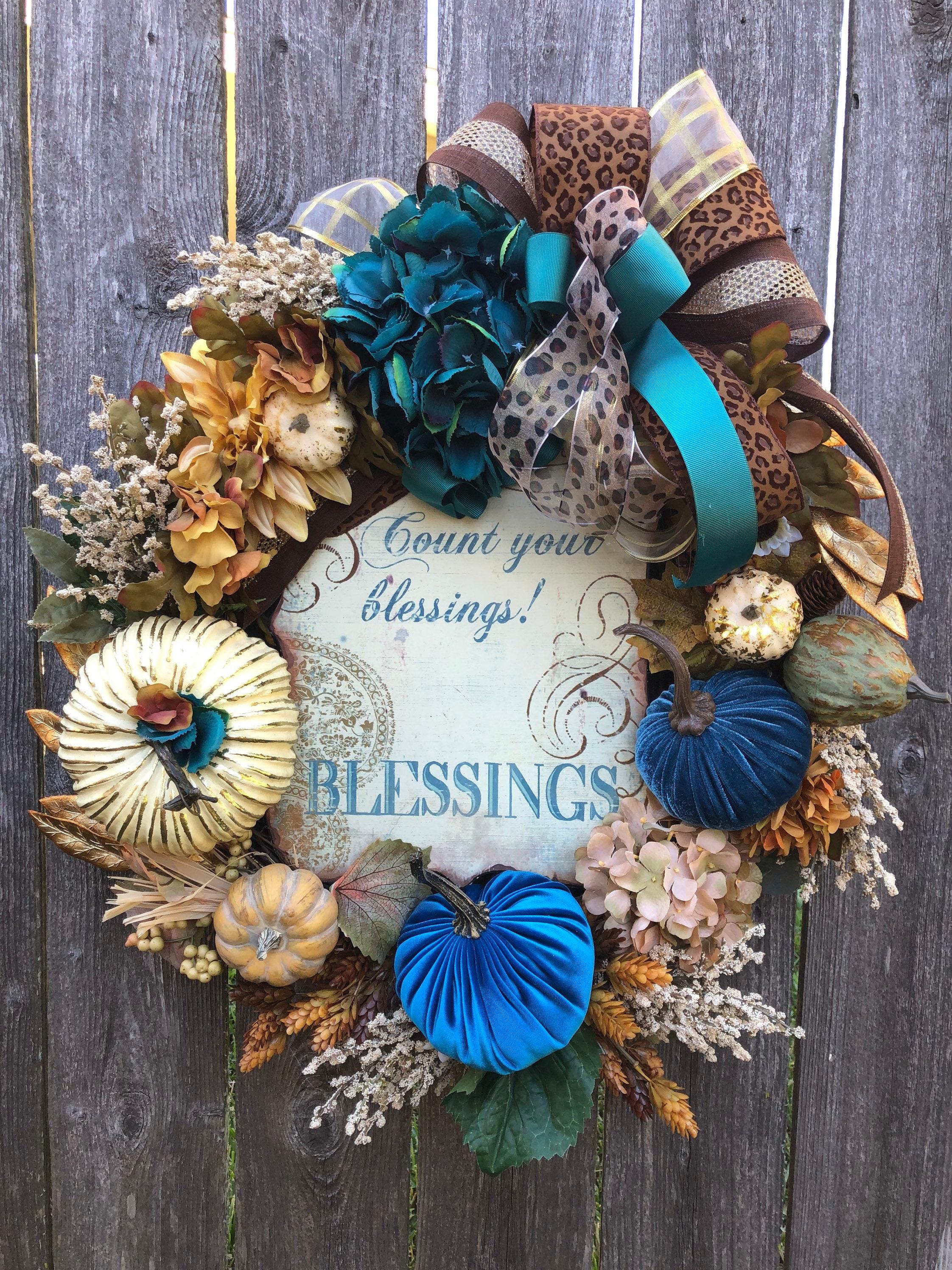 Count Your Blessings Teal Blue Fall Pumpkin Wreath Thanksgiving Wreath Burlap Bow Grapevine Cheetah Accent Wreath