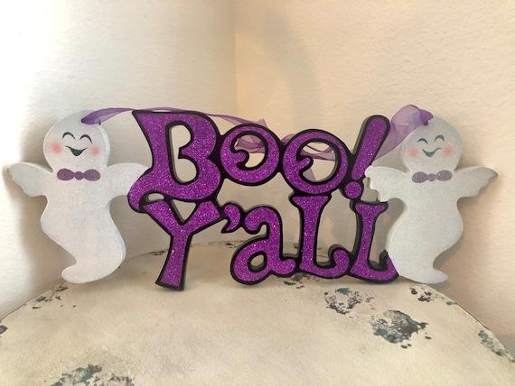 BOO YALL wreath and door sign, ghost halloween door decor, ghost sign