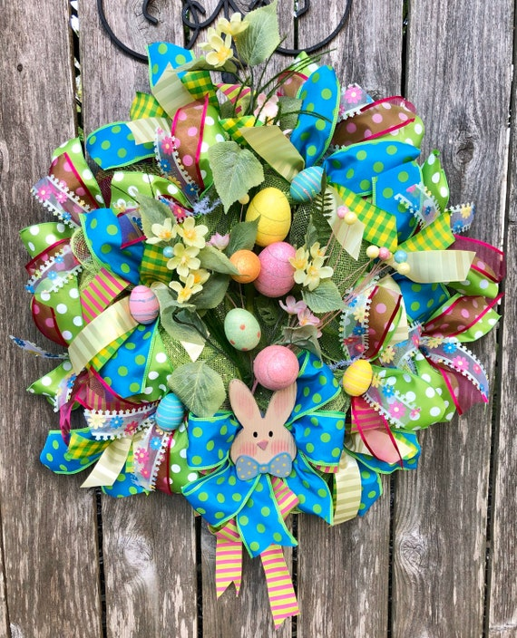 SPRING EASTER WREATH, easter decor,bunny sign, Easter eggs,egg wreath, easter door decor