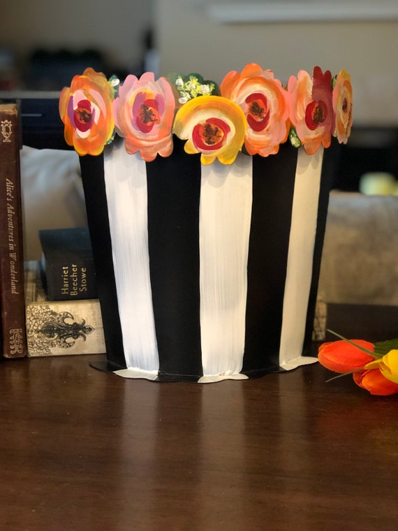 ROSE BASKET metal vase Container, Black and White metal container edged with painted roses, black bucket
