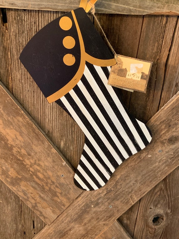 STOCKING BLACK and WHITE stripe with Gold Metal xl Ornament, Christmas xl Stocking Ornament, Black and White Stripe with Gold Metal Stocking