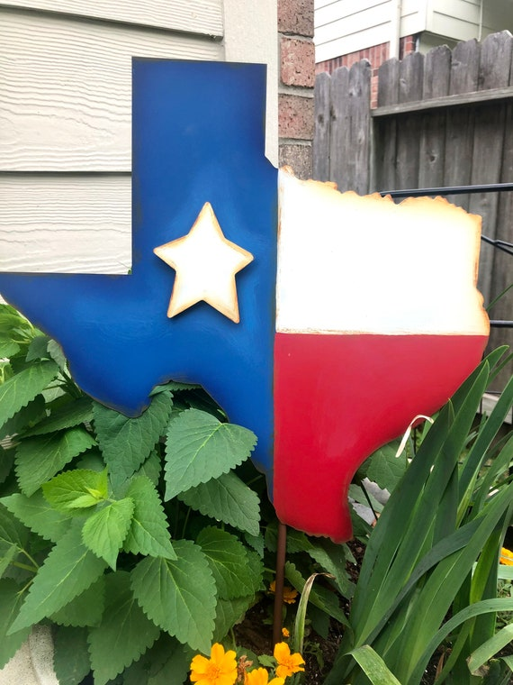 TEXAS FLAG patriotic metal sign, Round Top Collection sign, flag yard art, july 4th sign