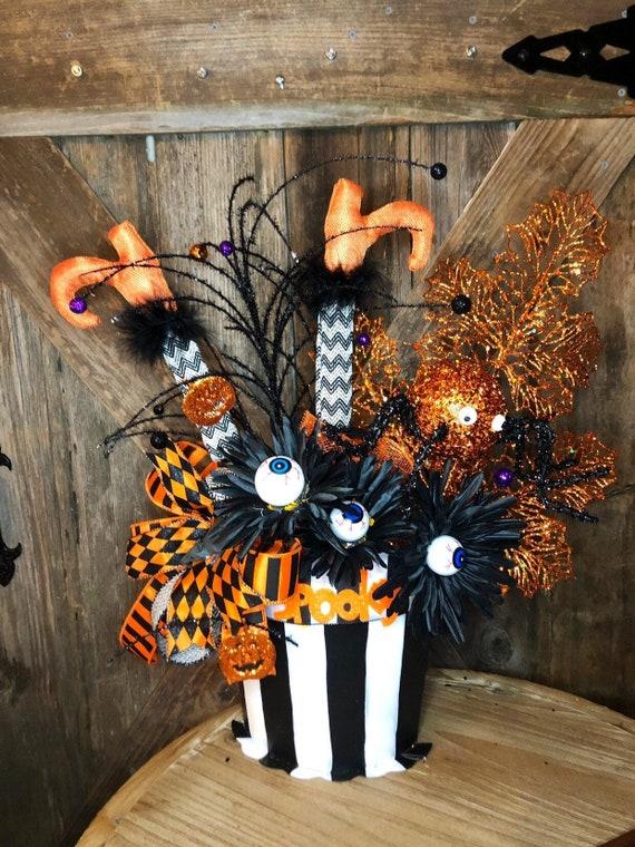 HALLOWEEN WITCH leg spider, rat, eyeball Arrangement,black & white metal bucket witch arrangement