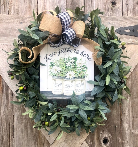LOVE GATHERS Here Valentines greenery olive WREATH burlap Buffalo check bow, burlap ribbon wreath, olive and greenery decor, everyday wreath