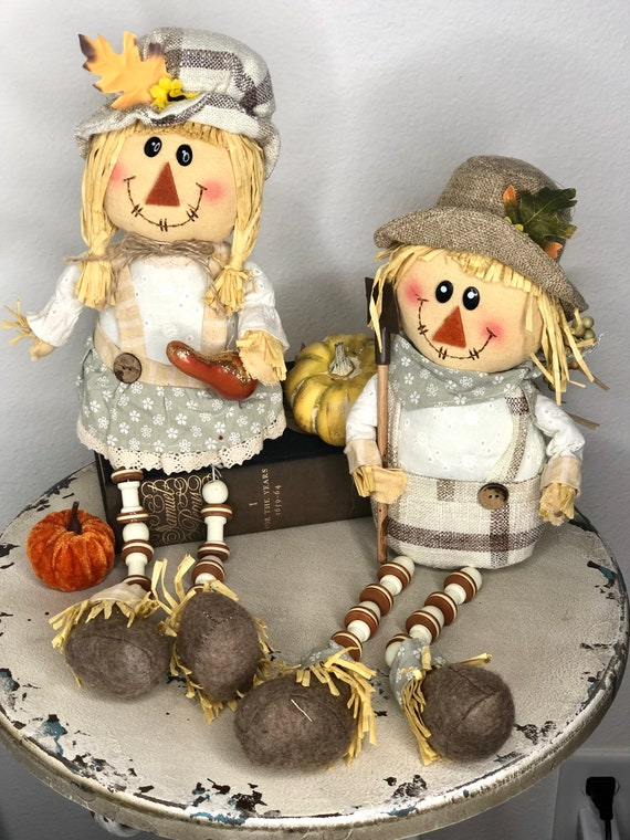 FALL Farmhouse GIRL scarecrow, girl fall scarecrow, decorative tray scarecrow, fall doll, fall accessory, fall decorations