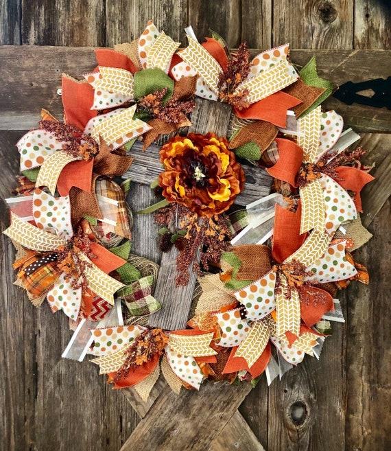 FALL CROSS WREATH, orange mum wooden cross wreath, mesh ribbon fall wreath
