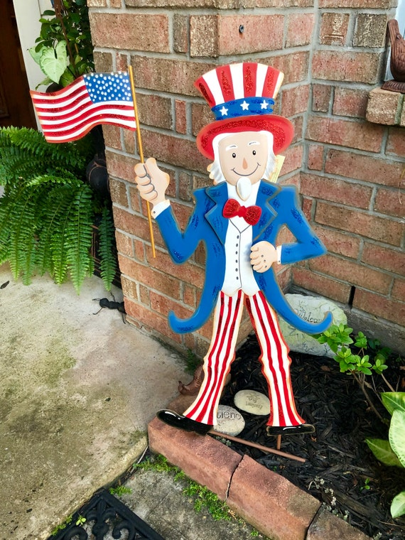 PATRIOTIC UNCLE SAM metal sign, July 4th decor, Round Top Collection sign, flag yard art
