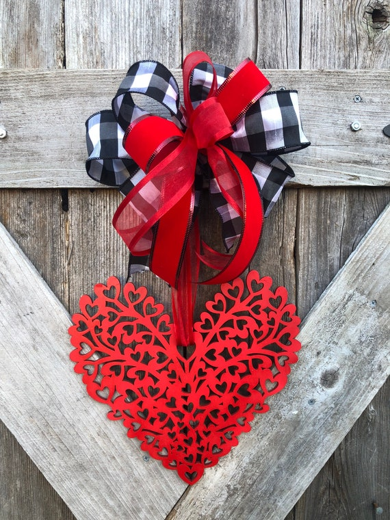 Custom Buffalo plaid WOODEN HEART Door sign, Valentine's heart sign